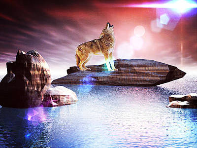 Digital Art - Howling Wolf Lomo by Jacqueline Lloyd