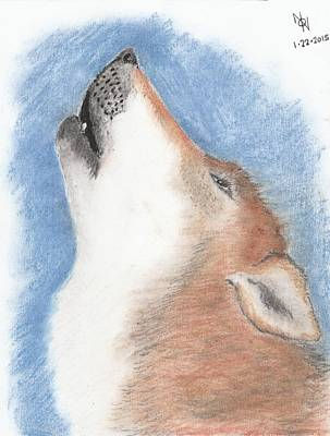 Wolf Pastel - Howling Wolf by Nathan Noss