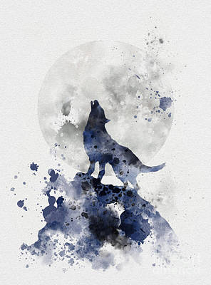 Moon Mixed Media - Howling Wolf by Rebecca Jenkins