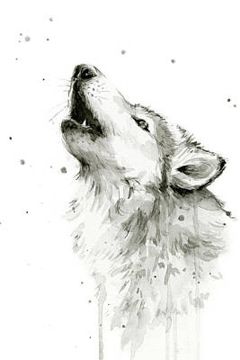 Black And White Art Painting - Howling Wolf Watercolor by Olga Shvartsur