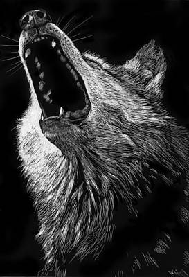 Drawing - Howling Wolf by William Underwood