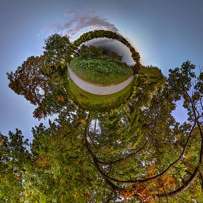 Photograph - Hoyt Lake Autumn Twilight - Tiny Planet by Chris Bordeleau