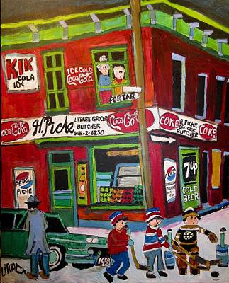 Painting - H. Piche Grocer Goose Village Montreal Vintage by Michael Litvack