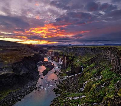 Photograph - Sunrise Explodes At Hrauneyjafoss by Usha Peddamatham