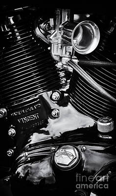 Photograph - Hrd Black Vincent Engine by Tim Gainey