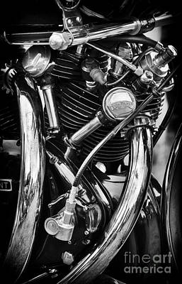 Photograph - Hrd Vincent Series D Engine Detail Monochrome by Tim Gainey