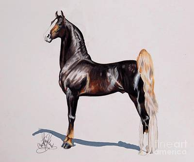 Painting - Hs Daydream's Premier Night - Saddlebred Stallion by Cheryl Poland