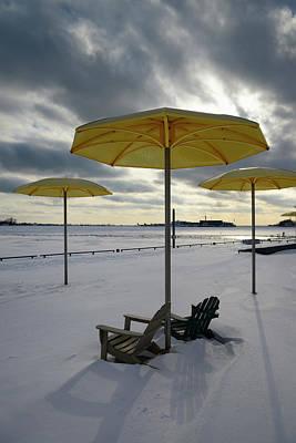 Toronto Photograph - Hto Park Beach Umbrellas And Muskoka Chairs With Winter Snow And by Reimar Gaertner