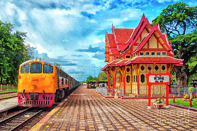 Hua Hin Train Station Digital Painting Art Print