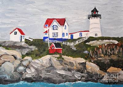 Painting - Nubble Lighthouse by Reb Frost