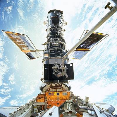 Spacewalk Photograph - Hubble Servicing by Nasa