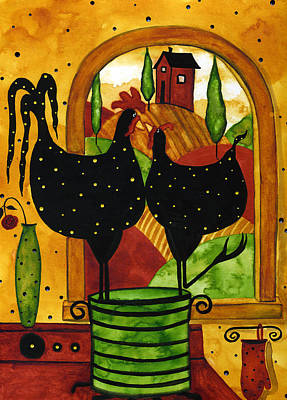 Tuscan Hills Painting - Hubbs Art Folk Prints Country Farm Funny Whimsical Chicken Rooster Kitchen by Debi Hubbs