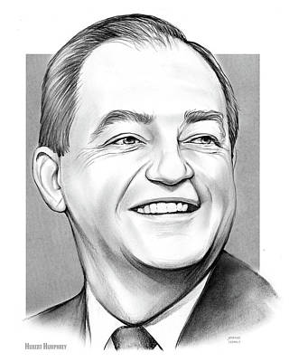 Politicians Drawings - Hubert Humphrey by Greg Joens