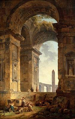Ruin Painting - Hubert Robert 1733-1808, Ruins With An Obelisk In The Distance by Celestial Images