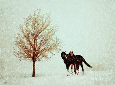 Snowy Trees Mixed Media - Huddled Horses by KaFra Art
