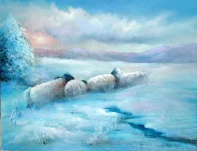 Huddling Sheep Art Print by Sally Seago