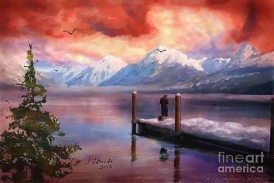 Painting - Hudson Bay Winter Fishing by Judy Filarecki