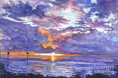 Hudson Beach Sunset Florida Art Print by Carol Wisniewski