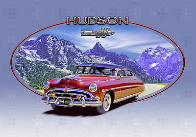 Digital Art - Hudson Hornet Travels The Tetons by Ed Dooley
