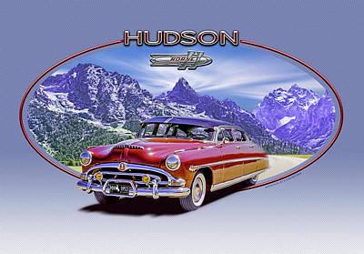 Digital Art - Hudson Hornet Travels The Tetons by Ed Dooley