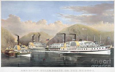 Hudson River Steamships Art Print