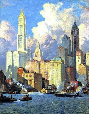 N.y Painting - Hudson River Waterfront by Colin Campbell