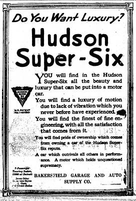 Photograph - Hudson Super Six The Bakersfield Californian Sat Sep 23 1916 by Robert Rhoads
