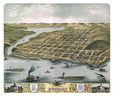 Cartography Painting - Hudson - Wisconsin - 1870 by Pablo Romero