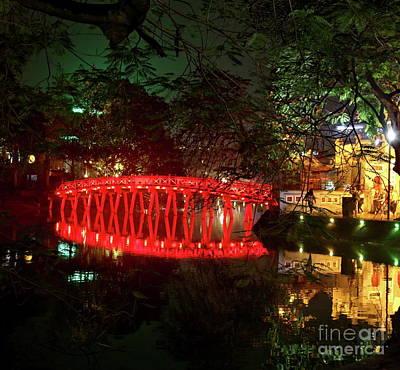 Kiem Photograph - Hue Bridge Hanoi  by Chuck Kuhn