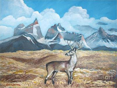 Painting - Huemul Near Torres Del Paine by Jean Pierre Bergoeing