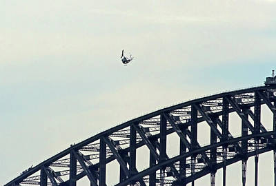 Photograph - Huey Flies Over The Harbour Bridge by Miroslava Jurcik