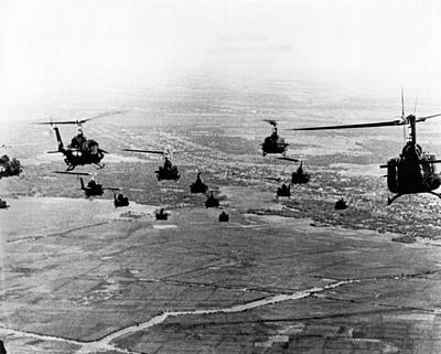 Helicopter Photograph - Hueys Into Combat by Underwood Archives