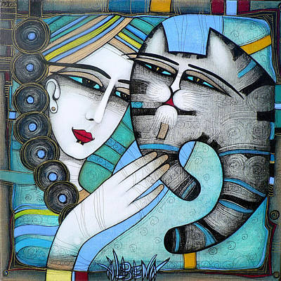 Cat Woman Painting - hug by Albena Vatcheva