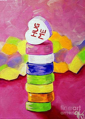 Painting - Hug Me Candy Hearts Tower by Jackie Carpenter