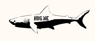 Swimming Digital Art - Hug Me Shark - Black  by Pixel  Chimp