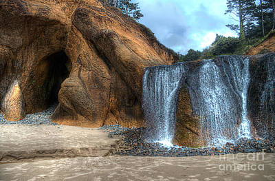 Cliffs Photograph - Hug Point Waterfall by Hilton Barlow