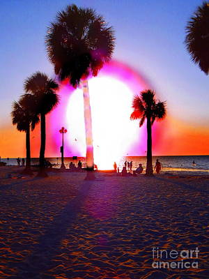 Photograph - Huge Sun Pine Island Sunset  by Expressionistart studio Priscilla Batzell