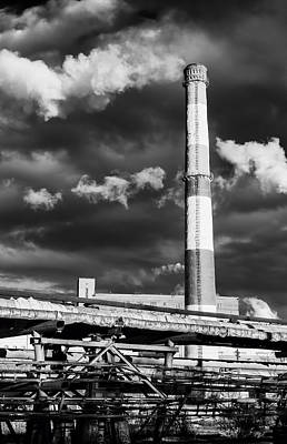 Huge Industrial Chimney And Smoke In Black And White Art Print by John Williams