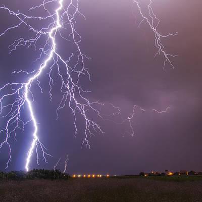 Lightning Photograph - Huge Lightning Bolt by Sandra Rugina