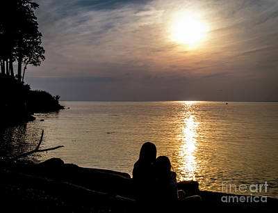 Photograph - Hugging At Sunset by Joann Long