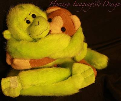 Hugging Monkeys Art Print by John Strapp