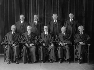 Chief Justice Photograph - Hughes Court. United States Supreme by Everett
