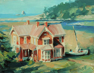 Oregon Coast Wall Art - Painting - Hughes House by Steve Henderson