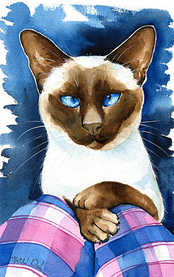 Painting - Hugo - Siamese Cat Painting by Dora Hathazi Mendes