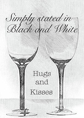 Digital Art - Hugs And Kisses In Black And White by Sherry Hallemeier
