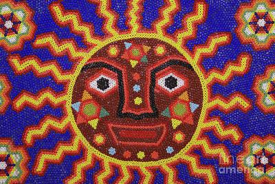 Photograph - Huichol Beadwork Sun Mexico by John  Mitchell