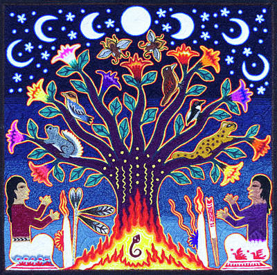 Mellow Yellow - Huichol Indian Sacred Tree of Life by Andrew Osta