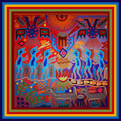 Digital Art - Huichol Tribal Fire Ritual by Vagabond Folk Art - Virginia Vivier