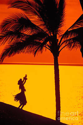 Hula At Sunset Art Print