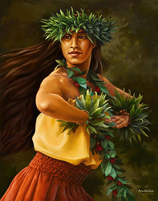 Hula Dancer Art Print by Anne Wertheim